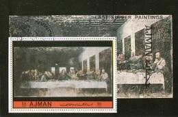 Ajman 1972 Bf. L'Ultima Cena Cenacolo The Last Supper Affresco Quadro Dipinto Leonardo Da Vinci CTO Perf. - Religione