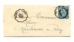 France, N°60 Sur Lettre Pour Neuchatel, TAD Convoyeur Rouen à Amiens 1877 - (B2120) - Marcophilie (Lettres)