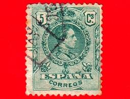 SPAGNA - Usato - 1909 - Re Alfonso XIII - Medaglione - Numero Di Controllo Sul Retro - 5 - 1889-1931 Regno: Alfonso XIII