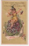 26849 Chromo Dames Françaises Rouennerie BOYER Roche Sur Yon France - Tissus Mode Modestie Violettes Lutin-305 - Autres