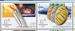 SOUTH KOREA, 2018, MNH, WINTER OLYMPICS, PYEONGCHANG,OPENING CEREMONY, OLYMPIC TORCH, MEDALS, MOUNTAINS, 2v - Winter 2018: Pyeongchang
