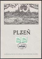 Tchéquie / Feuille Commémorative (PaL 1995/01) Plzen 1: Établi à Pilsen, Le Roi Wenceslas II. (1295) - Architecture