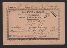 LE PETIT JOURNAL * VOYAGE 16 - 29 JANVIER 191..  * EXCURSIONS * PARIS * RUE LAFAYETTE * 3me CLASSE * 11.5 X 8 CM - Titres De Transport
