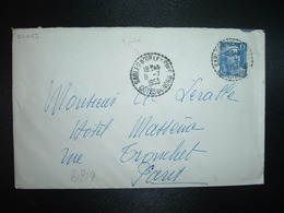 LETTRE TP M. DE GANDON 15F OBL. Tiretée 8-7 1953 SABLES D'OR LES PINS COTES DU NORD (22) - Handstempel