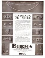 "PUB  BIJOUX "" BURMA ""  ( ART DECO )  1930  ( 1 ) - Autres"