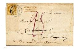 France N°55 Sur Lettre De NUITS-COTE-D'OR, Taxée 25c. + Griffe Affranchissement Insuffisant (rouge) - (B2126) - Marcophilie (Lettres)