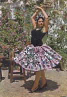 Matériaux Différents - Carte Tissé Tissu Paillette - Andalousie Patio - Danseuse - Editeur Savir Barcelona - Cartes Postales