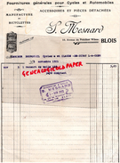 41 - BLOIS - FACTURE S. MESNARD- FOURNITURES POUR CYCLES ET AUTOMOBILES- 10 AV. PDT WILSON- BICYCLETTE SOSTHENIA- 1921 - France