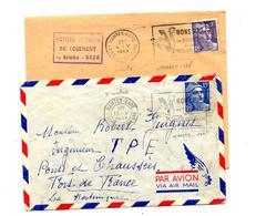 Lettre Flamme Nantes Bon Ptt 2 Types - Marcophilie (Lettres)