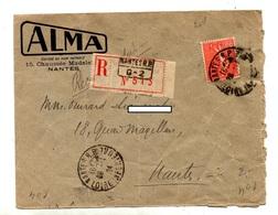 Lettre Recommandee Nantes Sur Semeuse  Etiquette - Marcophilie (Lettres)