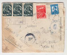 Bulgaria WWII Registered Letter Cover Travelled 1941 Loukovite To Ljubljana Via Elbasan And Brindisi CENSORED B190220 - Storia Postale