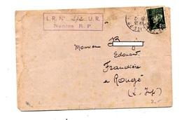 Lettre Recommandee Nantes Sur Petain + Rouge  Par Tampon - Marcophilie (Lettres)