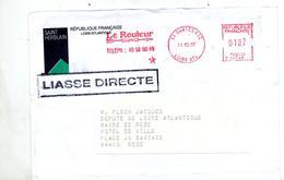 Lettre Flamme Ema Nantes Le Routeur Entete Mairie Saint Herblain  + Cachet Liasse - Marcophilie (Lettres)