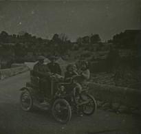 """Positif Stéréo Légendé """"Au Villard 13 Avril 1914"""" . Automobile . - Photos Stéréoscopiques"""