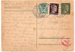 Taxe 50c Gerbes Sur Entier Postal D'Allemagne Envoyé En Poste Restante En 1944 - Marcophilie (Lettres)