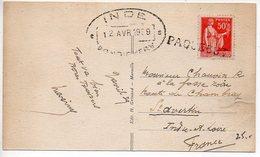 50c Paix Sur Carte (retaillée En Haut Et Bas) - Griffe PAQUEBOT Avec CaD De Pondichéry (Inde) De 1939 - Marcophilie (Lettres)