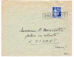 50c Paix Sur Lettre Pour Tiaret (Algérie) - Cachet PAQUEBOT  - CaD D'arrivée Au Verso - Marcophilie (Lettres)
