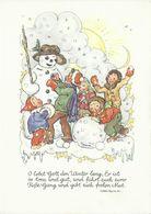 AK Ruthild Busch-Schumann - Kinder Bauen Einen Schneemann + Spruch - Farbzeichnung ~1970 #2517 - Kinder-Zeichnungen