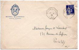 65c Paix Sur Lettre De 1938 à En-tête 'Hôtel MAJESTIC / Caracas - Vénézuéla - CaD 'COLON Au HAVRE L. N° 2' - Marcophilie (Lettres)
