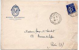 65c Paix Sur Lettre De 1938 à En-tête 'Hôtel MAJESTIC / Caracas - Vénézuéla - CaD 'COLON Au HAVRE L. N° 1' - Froissures - Marcophilie (Lettres)