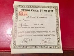 EMPRUNT  CHINOIS  5 %  OR  1902  --------Récépissé - Shareholdings