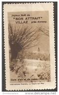 """France Tourism Christmas Vignette -  """"Bon Attrait"""" Villaz Pres Annecy - Commemorative Labels"""