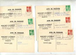 Lot 8 Carte Avis De Passage Verrerie Flamme Nantes à Voir - Marcophilie (Lettres)