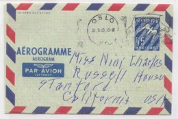 Norway Aerogram Aerogramme Used In 1955 (Norge Norvege Statiionary Entier Postal) - Norvège