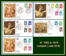 FDC Silk Soie Sabine Gandon N° 1962 à 1979 Complet (cote 30 Euros) - 1977-81 Sabine Of Gandon