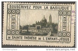 France Vignette - 1929 Lisieux Basilica Subscription Fund Used - Tourism (Labels)