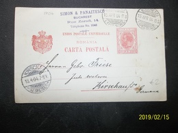 Romania: 1904 Postal Card To Germana (#EN11) - 1881-1918: Charles I