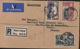 Ceylan YT Georges VI 257 261 262 CAD Slave Island  29 De 39 Recommandé Transit Colombo Registered Cachet Boustead Bros - Ceylan (...-1947)