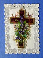 IMAGE PIEUSE...RELIGIEUSE . CANIVET A SYSTÈME....COLLAGE D'UNE CROIX DECOUPI - Images Religieuses
