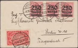 Allemagne 1.10.1923 Michel 257 Et 295 X 3 Petite Enveloppe, 1er Jour Du Tarif Local. 800 000 M. Pas De Timbre à 50 000 ? - Allemagne
