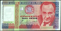 PERU' - 50.000 Intis 28.06.1988 {Prefix #A000524J} AU-UNC P.142 - Pérou