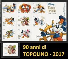 ITALIA  2017 - 90 Anni Di Topolino - W. Disney Italia - Grande Foglietto + Singolo - 6. 1946-.. Repubblica