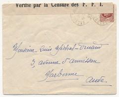 """Enveloppe Depuis Ardèche 1944, Affr 1,50 Pétain, Bande De Censure """"Vérifié Par La Censure Des F.F.I."""" - Francia"""