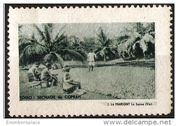 France (Togo) - Copra Drying Colonial Tourist Poster Stamp MNH - Commemorative Labels