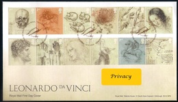 Gran Bretagna UK (2019) Leonardo Da Vinci (500th Anniversary Of Death) - FDC (mailed Cover) And Official Bulletin - Celebrità