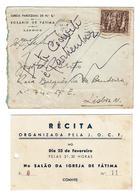 1952 , Igreja De Fátima Lisboa , Convite , Invitation , Stamp 1951 XXV Years Of 1926 Revolution , 7 Waves Postmark - Announcements