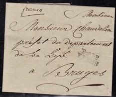 Fance, Départements Conquis - La Lys, P91P Ypres Sur LAC De L'an 13 (1805) - Marcophilie (Lettres)