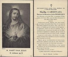DP MARTHE CARDINAEL ° WYTSCHATE 8.7.1902 + IEPER 13.3.1964 GEHUWD JULES DELBECQUE - Images Religieuses