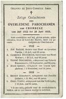 Crombeke Krombeke  Juli 1922 Juni 1923  Gedachtenis Overleden Parochianen - Décès