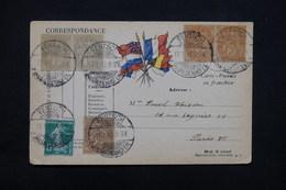 FRANCE / ALLEMAGNE - Affranchissement De Fentsch Sur Type Blanc / Semeuse En 1919 Pour Paris Sur Carte FM - L 23206 - Marcophilie (Lettres)