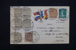 FRANCE / ALLEMAGNE - Affranchissement De Fentsch Sur Type Blanc / Semeuse En 1919 Pour Issy Sur Carte FM - L 23207 - Marcophilie (Lettres)