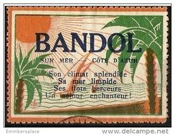 France Vignette - Tourism Poster Stamp Bandol Sur Mer Used - Commemorative Labels
