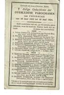 Crombeke Krombeke  Juli 1923 Juni 1924 Gedachtenis Overleden Parochianen - Obituary Notices