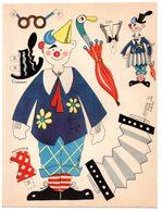 Découpage En Carton, Personnage Humoristique. Editions Mondiales, L'Intrépide. Le Clown Musicien. - Victorian Die-cuts