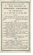 Crombeke Krombeke  Juli 1924 Juni 1925 Gedachtenis Overleden Parochianen - Obituary Notices