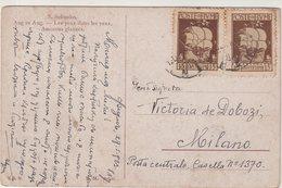 FIUME : CP AVEC N° 172 . 2 EX . DONT UN EX VARIETE DE PIQUAGE . 1923 . ( CATALOGUE YVERT ) . - Fiume